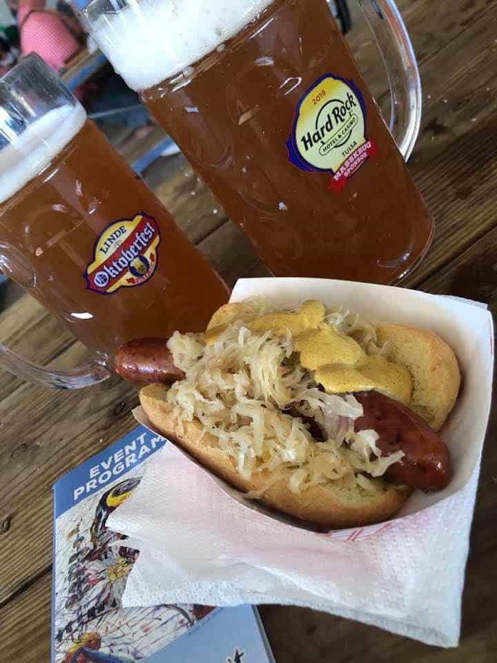 Beer Steins - Bratwurst with sauerkraut and brown mustard - Tulsa Oktoberfest 2019